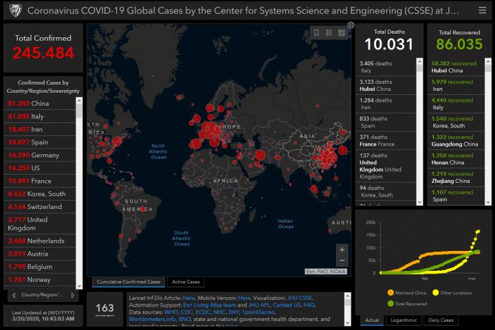mappa diffusione coronavirus nel mondo in tempo reale