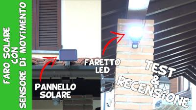Faro solare a led da esterno con pannello solare e sensore PIR di movimento