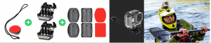 Piastra con gancio da applicare con biadesivo sul casco per action cam
