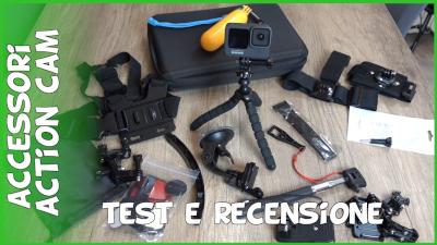 Recensione, test e spiegazione utilizzo set di accessori Amazon economici per action cam GoPro 9, GoPro 8, GoPro 7, GoPro 6, GoPro 5, Insta360, DJI Osmo Action, AKASO, APEMAN, Campark, SJCAM
