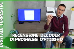 Recensione decoder Diprogress Dpt203Hd per nuovo digitale terrestre dvb-t2 Main 10 HEVC 10 bit e telecomando universale